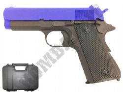 GB0737 BB Gun SR 1911S Pistol Gas Blowback Airsoft 2 Tone Blue Black Metal